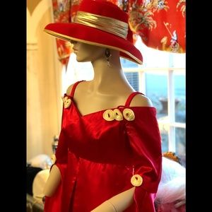 Red Satin Romantic Gown Off the Shoulder w/Roses